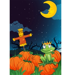 a scarecrow and frog vector image vector image