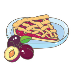 A slice of plum pie vector