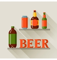 Background design with beer can and bottles vector