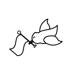 Bird flag romance image outline vector
