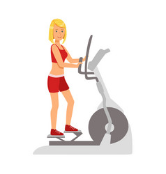 Blond woman working out using elliptical trainer vector