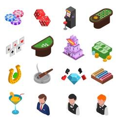 Casino isometric icons set vector