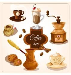 Coffee decorative set vector image