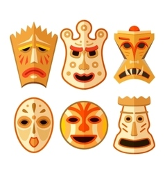 Collection of different wooden voodoo masks vector