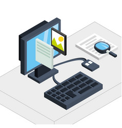 computer with business apps connection vector image