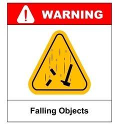 Danger falling objects warning sign vector