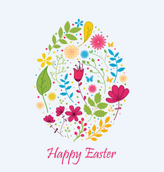 Easter egg with flower concept vector