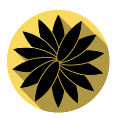 Flower sign flat black icon with flat vector