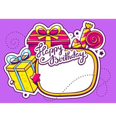 Gift boxes and confection with frame on p vector