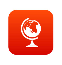 globe icon digital red vector image vector image