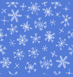 hand drawn seamless pattern blue on white vector image vector image