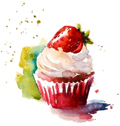 Hand painted watercolor strawberry muffin vector