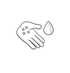 Hand with microbes sketch icon vector image vector image