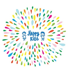 Happy kids logo or card for preschool or vector image vector image
