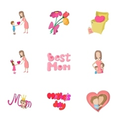 Happy mothers day icons set cartoon style vector