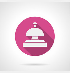 Hotel bell pink round icon vector