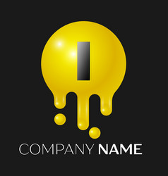 I letter splash logo yellow dots and bubbles vector