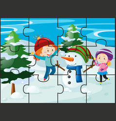 Jigsaw puzzle game with girls and snowman vector