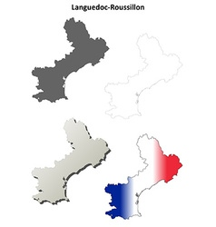Languedoc-roussillon blank outline map set vector