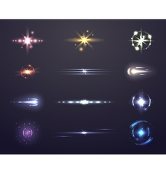 Lens flare and glowing light effects vector image