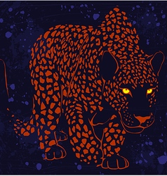 Leopard wild cat with glowing eyes sneaks night vector