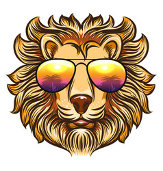 lion in rainbow glasses vector image