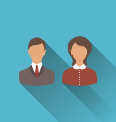 male and female user avatars Flat icons with long vector image