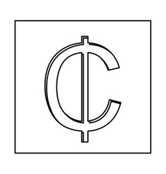 Monochrome contour with currency symbol of cent in vector