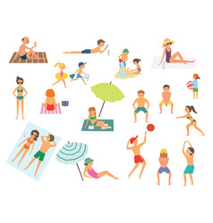 people on the beach isolated vector image vector image