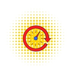 Red speedometer icon comics style vector image vector image