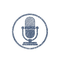 Retro microphone icon with hand drawn lines vector image