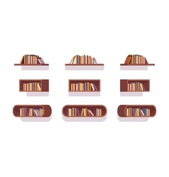 Set of retro bookshelves vector image vector image