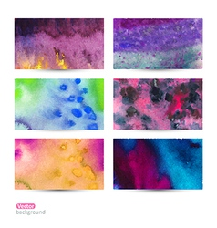 set of six watercolor abstract hand drawn vector image