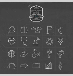 Social media network doodle line icon set vector