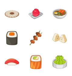 Sushi icons set cartoon style vector