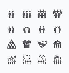 Team and business silhouette icons flat design vector
