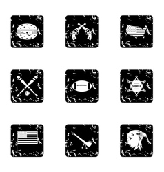 Usa icons set grunge style vector