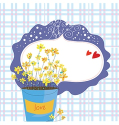 Valentine card with flowers and frame vector image vector image