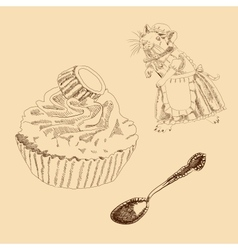 Vintage set of mouse spoon and cake vector