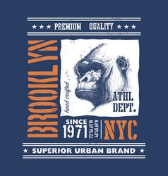 Vintage urban typography with gorilla head vector
