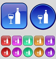 Wine icon sign a set of twelve vintage buttons for vector