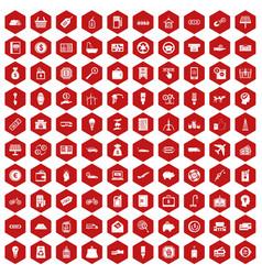 100 economy icons hexagon red vector image vector image