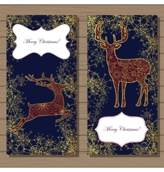 Merry Christmas cards with golden deer and vector image