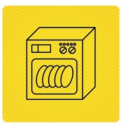 Dishwasher icon kitchen appliance sign vector