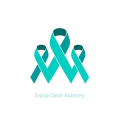 Ovarian teal ribbons awarenesssupport vector