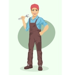 Young plumber or mechanic man with wrench vector