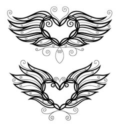 Two filigree hearts vector