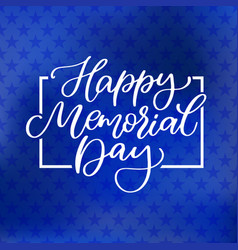 Memorial day hand lettering american vector
