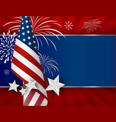 Usa background design of american flag for 4 july vector
