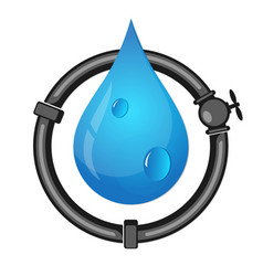 Pipes and water drop vector